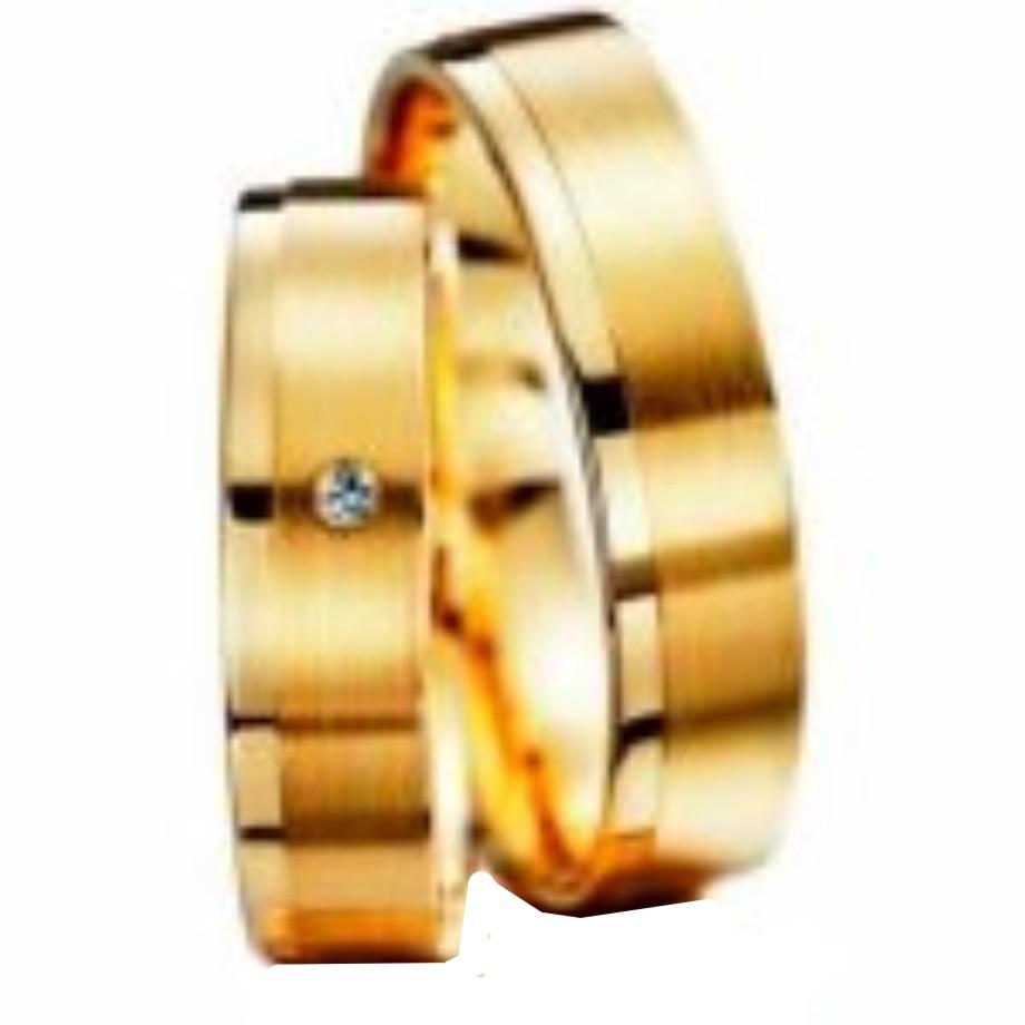 0354e7134f176 Par de aliança ouro 18k c  1 brilhante - O Garimpo - vitrine online