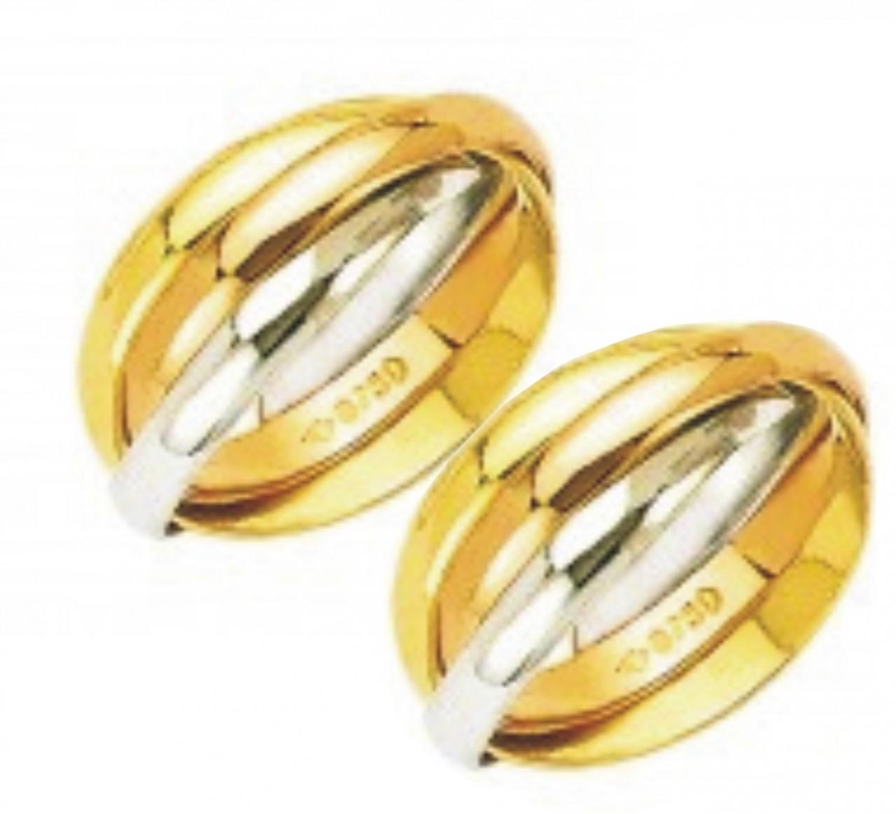 86686e131a7cd Par de aliança em ouro 18 k c  3 cores - O Garimpo - vitrine online